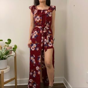 Red Maxi Floral Romper With Skirt Cape